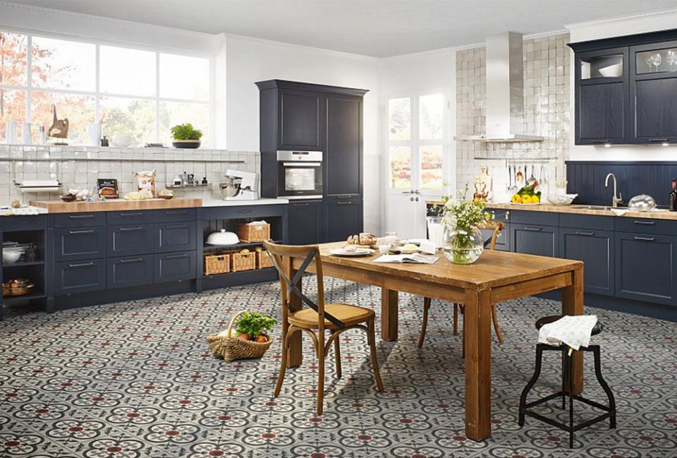 blauwe landelijke keuken