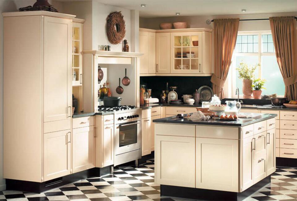 landelijke keuken zwart witte tegel